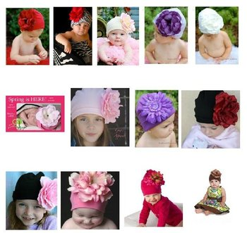 HOT 16 design top sell baby infant Beanie hat/cap Big flower knitted cap Christmas cotton hats 10pcs/lot