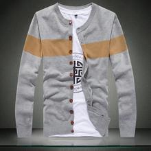 2015 new stylish striped sweater men brand slim fit mens jumper M - XXL button cardigans men cotton winter men sweater(China (Mainland))