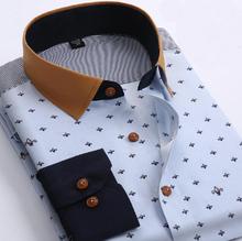New Brand Mens Dress Shirt Long Sleeve Cotton Male Business Casual Printed Fashion Formal Shirts Slim Masculina Camisa(China (Mainland))