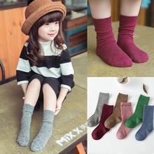 Candy color pile socks 75% cotton children socks Winter kids Socks Girl and Boy knitting wool socks Free shipping(China (Mainland))