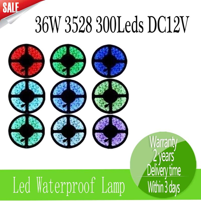 Free shipping Led Strip 5M 3528SMD 36W DC12V Waterproof 300leds White Red Green Blue Warm white(China (Mainland))