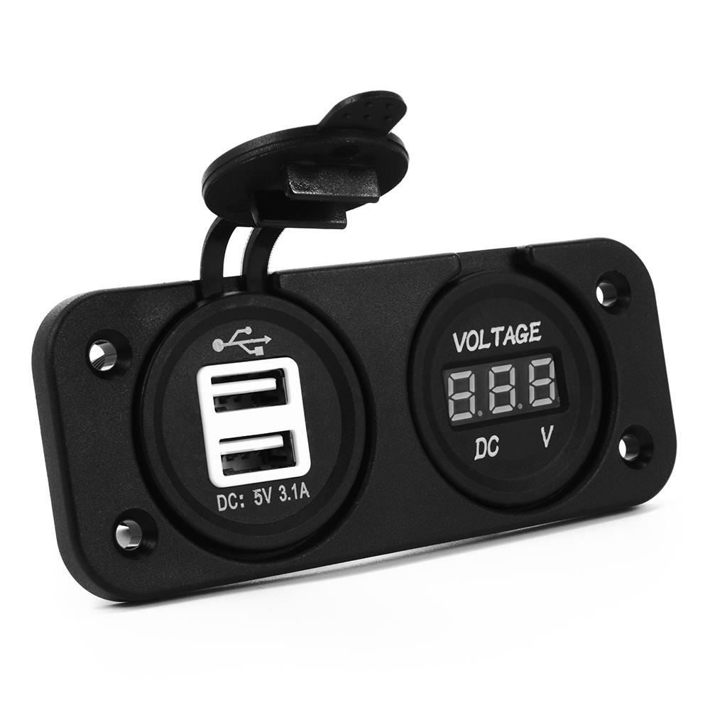 2in1 Voltmeter + Dual USB Charger Outlet Socket Panel for DC 12V/24V Car BC552(China (Mainland))
