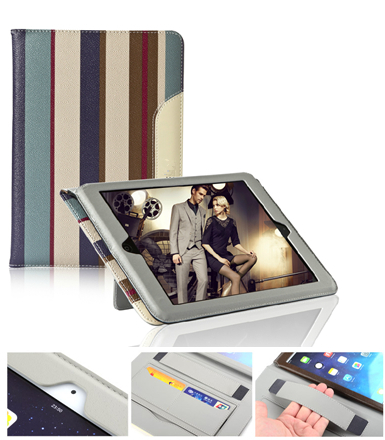 Luxury Handheld Genuine Stripe Leather Foldable Stand Multi Belt Business Card Smart Cover case for apple ipad 234 mini air air2(China (Mainland))