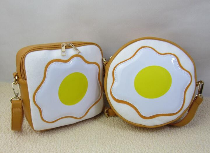Poached Egg Messenger Bag Japanese Style Harajuku PU Leather Cute Cross Body Bags Small Round Bags Free Shipping(China (Mainland))