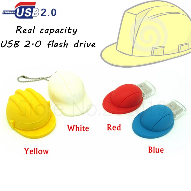 New cartoon Helmet usb flash drive Safety hat/Baseball cap pen drive memory stick real capacity u disk red/blue/yellow/white(China (Mainland))