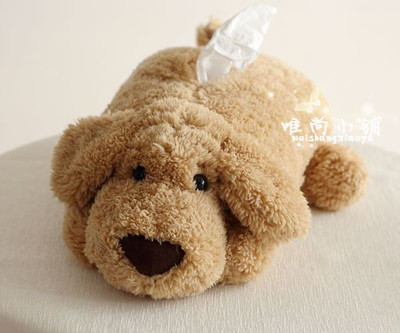 071877 best selling new design super cute dog large tissue boxes plush toys creative car decoration free shipping(China (Mainland))