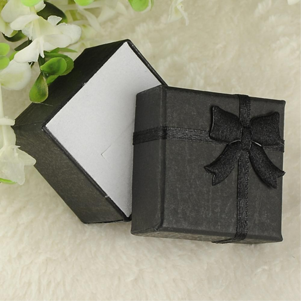 24pcs/lot 4*4*3cm ES4548 Jewelry Earring Bracelet Ring Gift Boxes Black Square Carton Bow Case(China (Mainland))