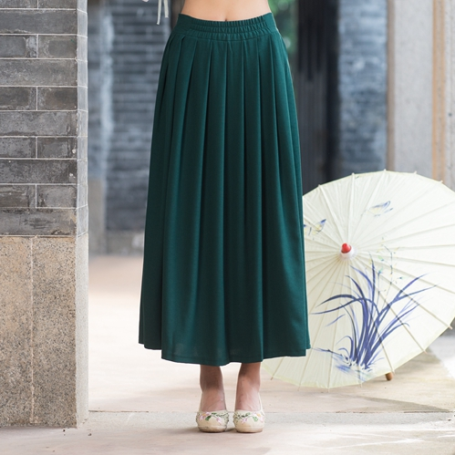 Traditional Chinese clothing 2017 women autumn spring vintage ethnic long dark green pleated skirt cosplay costumes
