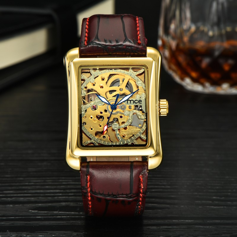 MCE Мода Brand любителя Механические Часы Ручной Ветер Скелет Золотые Часы Для Любовника Кожаный Ремешок Наручные Часы Relogio Masculino