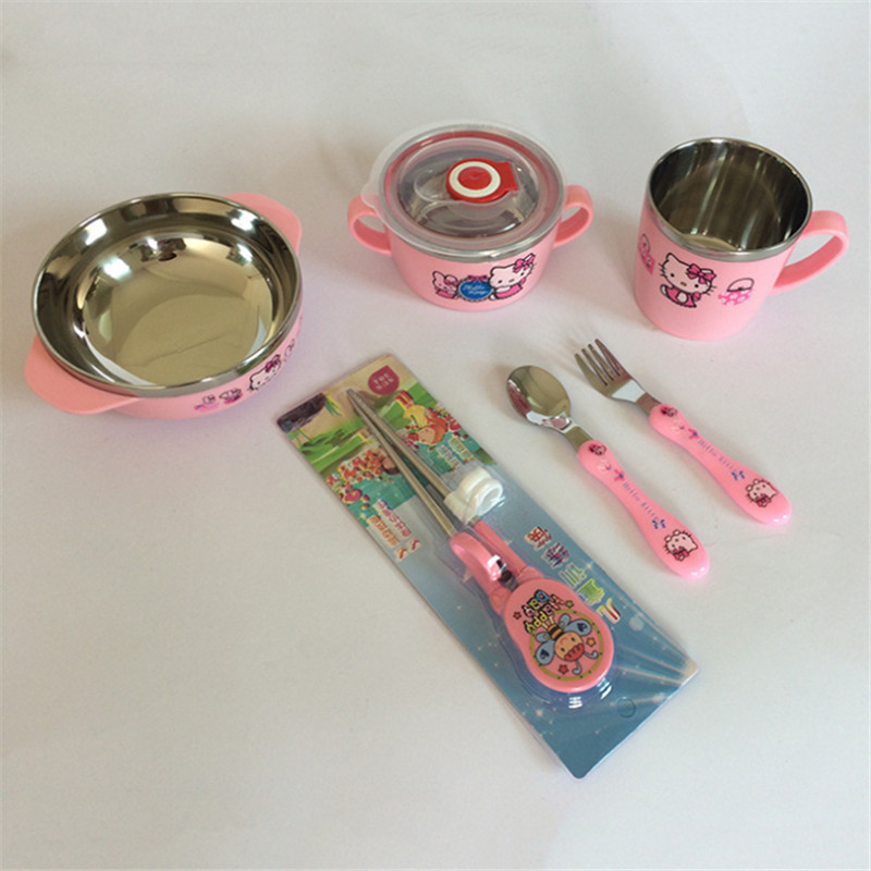Look 6 Sets baby dinnerware Child Bowls Set Soup Bowl Cup Spoon and Fork Baby Bowl Cartoon Dinnerware Sets Child Tableware Spoon