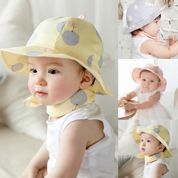 Newest Infant Sun Cap Polka Dot Summer Outdoor Baby Girl Sun Beach Bucket Hat(China (Mainland))