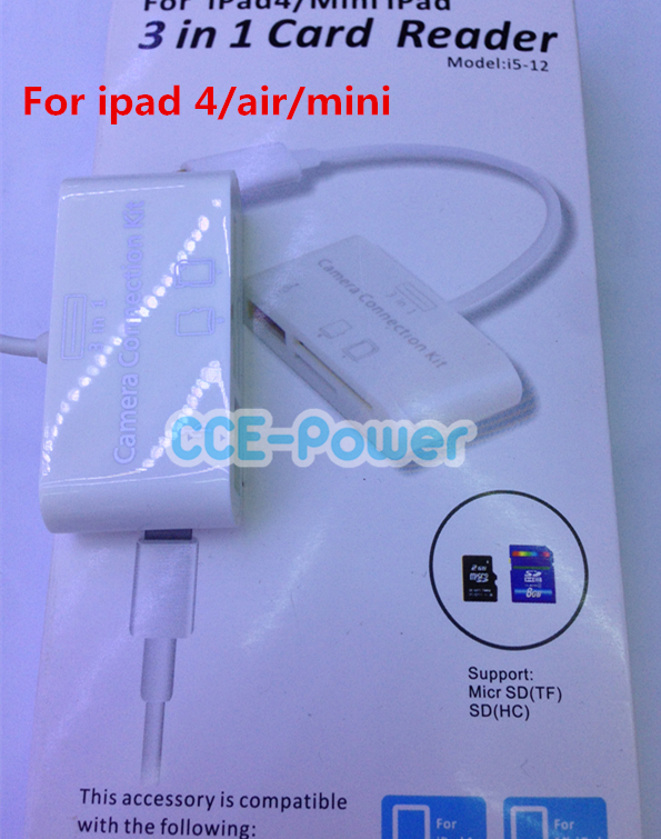 3 1 Camera Connection Kit (Support TF Card / SD USB) Reader iPad Air/ 4 /mini - DIYer technology store