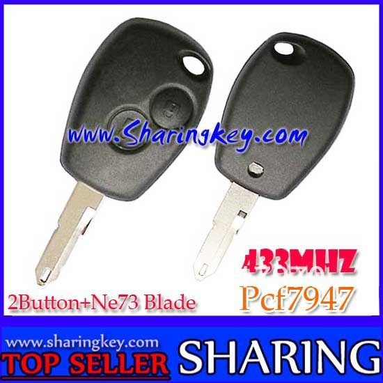 Free Shipping (5pcs/Lot )   2 Button  Remote Key PCF7947 Chip Ne73 Blade 434MHZ For Renault Megane Laguna Cilo  Scenic
