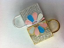 jewelry lock usb flash drive necklace 8gb 16gb 32gb Lock pen drive crystal gift hard disk gadget usb memeory Free shipping