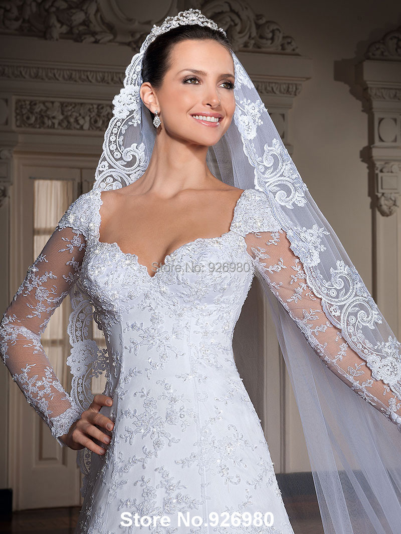 Free shipping sweetheart corset wedding dress white a line for Lace sleeve corset wedding dress