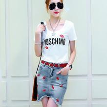 Summer New Fashion 2 Piece Set Women Irregular Denim Skirt And Crop Top Sport Suit Women Brand Sports Clothing(China (Mainland))