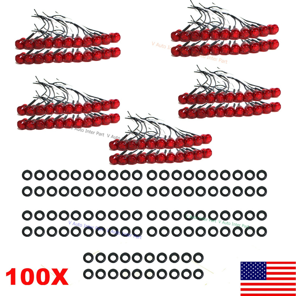 "THTMH 100X Mini Red 3/4"" 0.75 inch Round Side 3 LED Marker for Truck Boat Stair Trailer Bullet Clearance License Light US Stock(China (Mainland))"