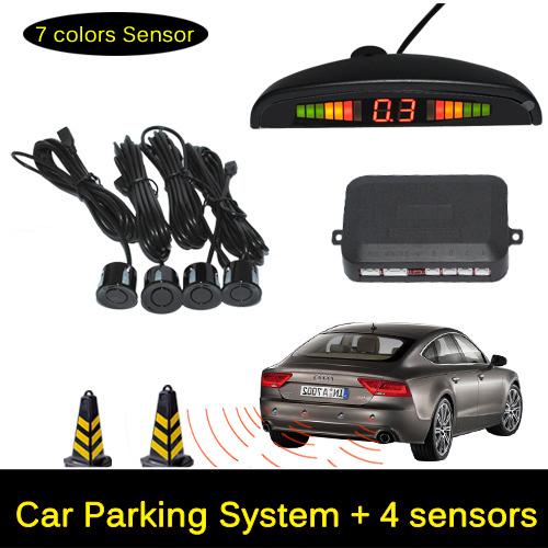 12V LED Car Parking Sensor Monitor Auto Reverse Backup Radar Detector System + LED Display + 4 Sensors + Black + Silver(China (Mainland))