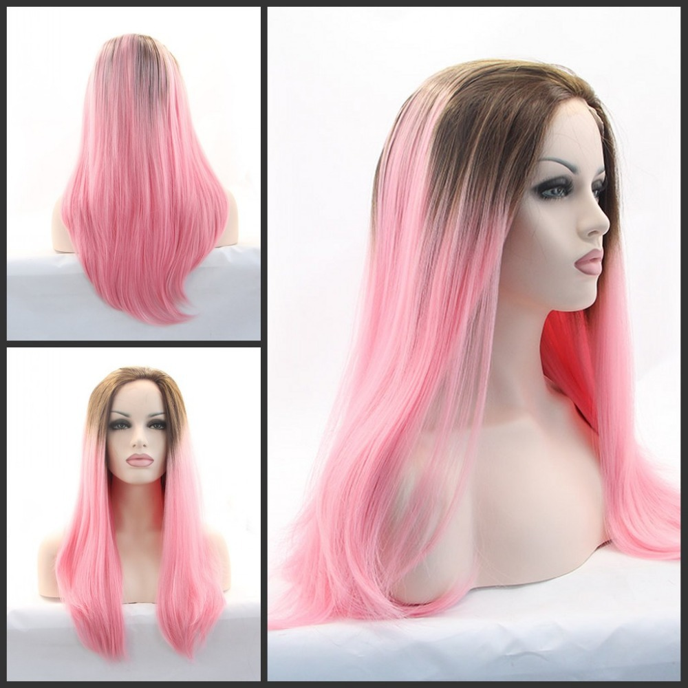 Glueless Heat Resistant long Wig Ombre Natural Brown Pink Color Synthetic Lace Front - Qingdao noble queen hair factory store