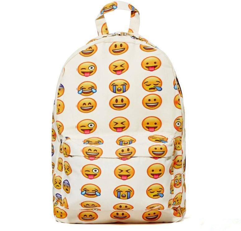 2015 new fashion street eye-catching school bags men and women unique travel bag creative funny emoji backpack(China (Mainland))