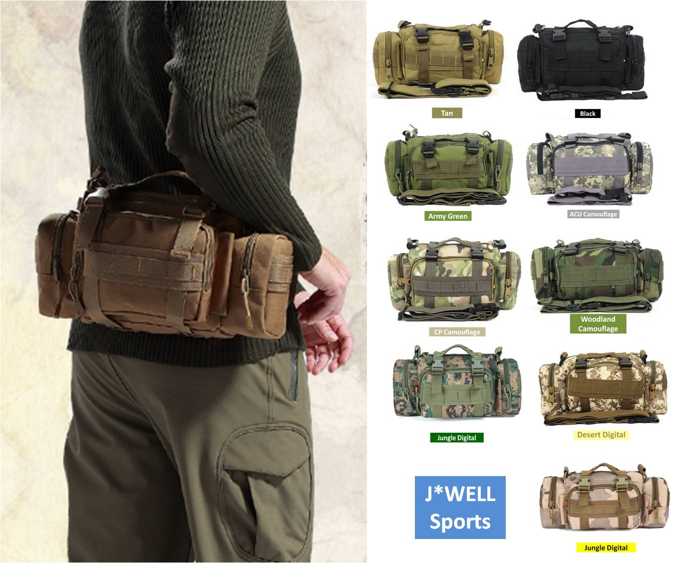 3P Utility Military Tactical Waist Mountain Bicycle Bike Cycling Assault Camping Hiking Outdoor Belt Pouch Backpack Shoulder Bag - J-WELL store
