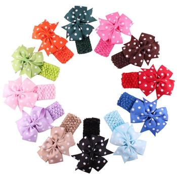 Stylish 12 colors Baby Headbands Girl's Flower Hair Bow Wave Head Wear Hair Accessory hair band for 1 to 3 Years Kids