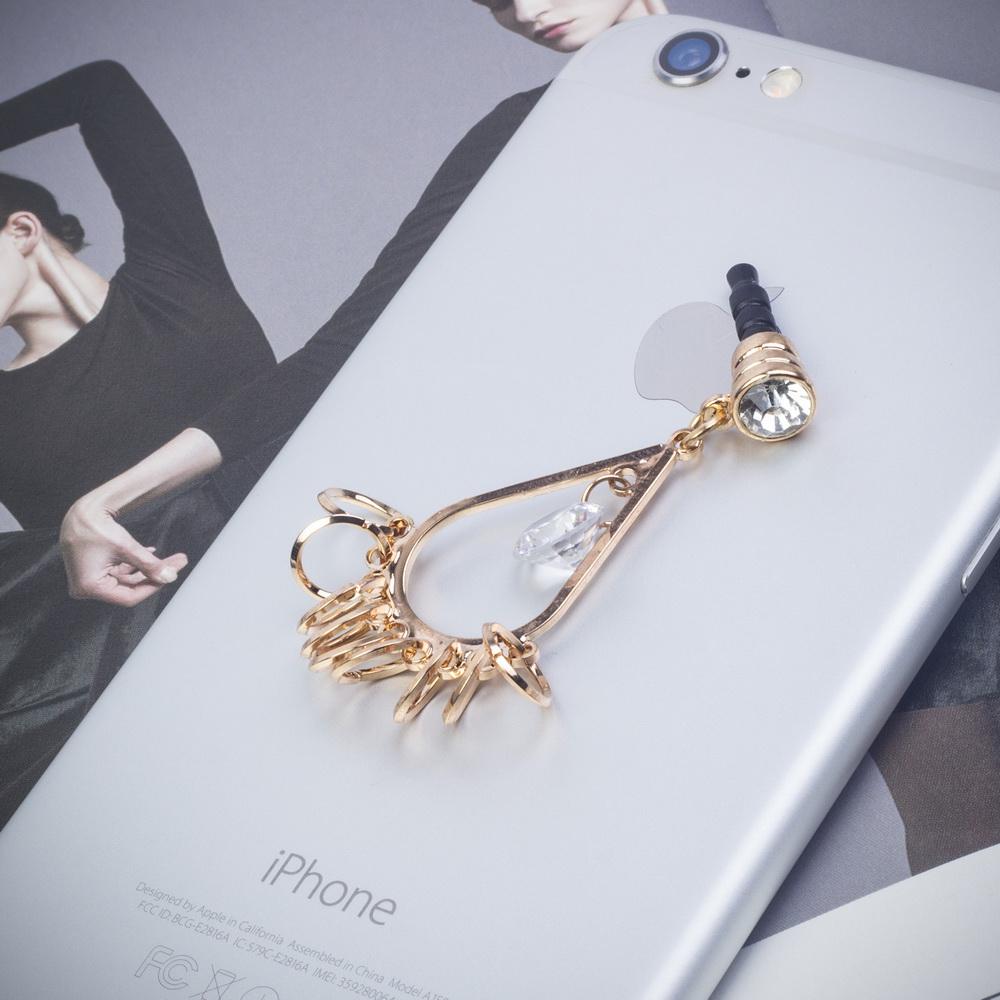 Diamond Girly Earring Tassel 3.5 mm Cell Phone Charm Anti Dust Plug Earphone Cap for iPhone 6 Plus 6 iPod Samsung Galaxy series(China (Mainland))