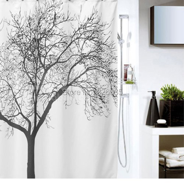 acheter 180 180 cm tanche motif de branche d 39 arbre rideaux de douche. Black Bedroom Furniture Sets. Home Design Ideas