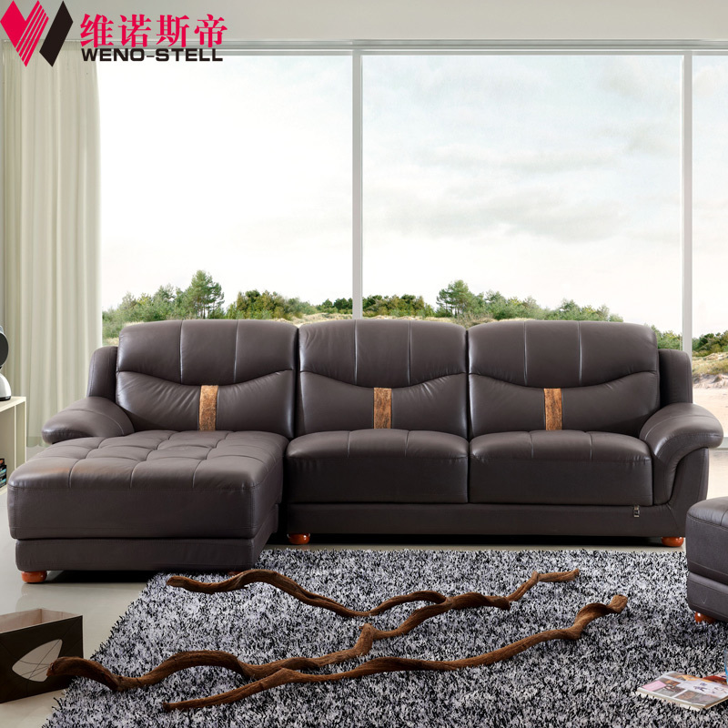 Wei nuosi emperor simple and stylish leather sofa small for Leather sofa and loveseat combo