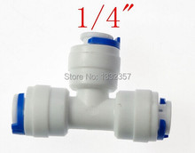 """Buy 100pcs/lot 1/4"""" OD Hose qucik connection Equal Type T RO Water Connector Fittings Reverse Osmosis Aquarium System hose connector for $49.00 in AliExpress store"""