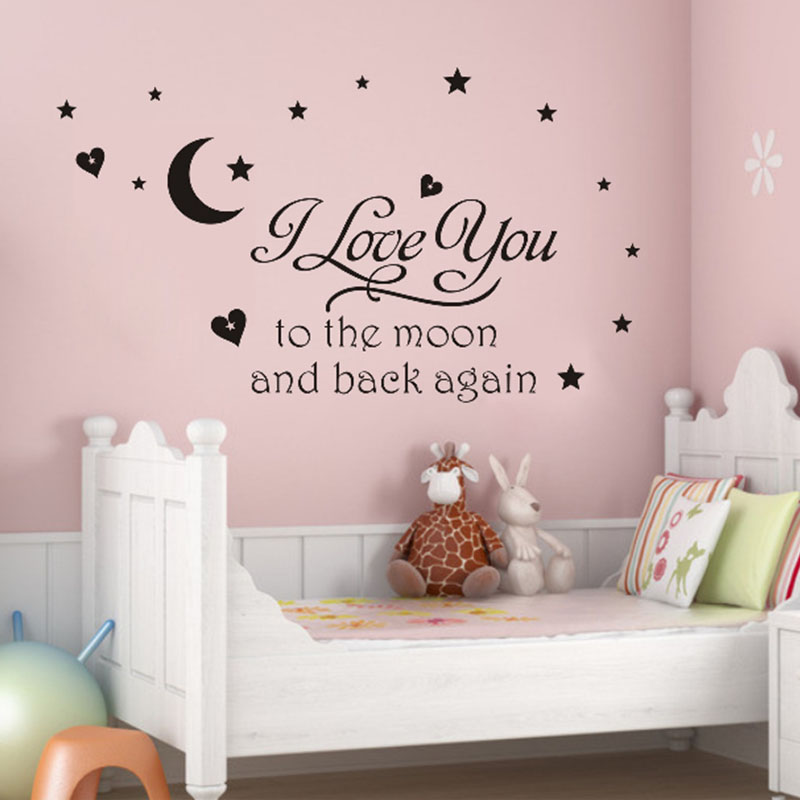 2016 New Design Wall Sticker I Love You to the Moon and Back Again Star Heart/Art words sayings Vinyl Wall Decals Free Shipping(China (Mainland))