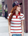 Fashion Slim Red polo femme Embroidery Short Sleeve Womens Letter Polo Shirts Cotton Women s Striped