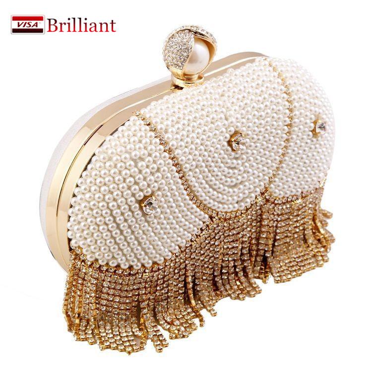 2016 Women's mini bag fashion leather pearl tassel Handmade evening clutch Chain girls Shoulder Messenger bags party handbags A3(China (Mainland))