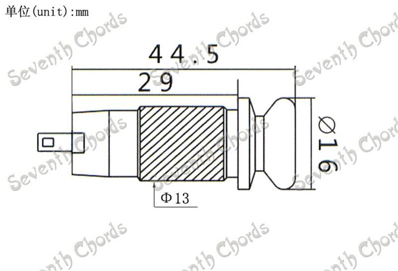 6.35mm Brass Chrome Knurled Cylinder Guitar Jack Output