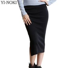 YI-NOKI Winter Autumn Long Skirt Fashion Sexy Solid Color Cotton Skirts Womens Maxi Skirt High Waist Elasticity Pencil Skirt(China (Mainland))
