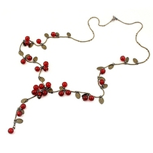 Free shipping Min. Order $8 ( mix order)! Vintage Wine Red Cherry Round Beads Multi-storey Necklaces Long For Women. Wholesale(China (Mainland))