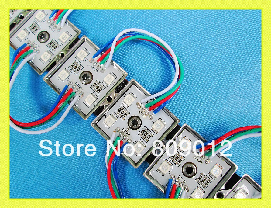 Fedex DHL shipping 1000pcs waterproof SMD5050 RGB LED module light lamp LED advertising light module DC12V 4 led iron(China (Mainland))