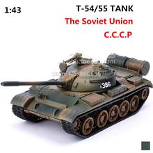 2015 juguetes para niños la segunda guerra mundial soviético unión rusos T 55 tanque de Metal 1:43 movimiento de material modelo mundial de tanques