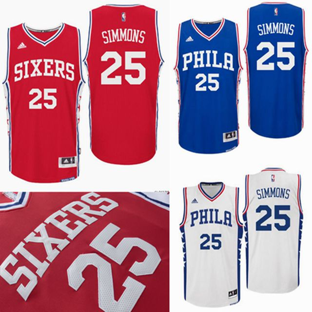 2016 New Philadelphia 76ers, #25 Ben Simmoninglys Blue White Red Men's LSU College, Stitched logo 100% stitched, hot sale(China (Mainland))