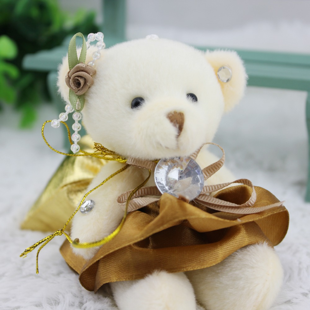 Free shipping wholesale 60pcs/lot 12cm mini diamond Bear bouquet material with candy bags wedding joint bear pendant(China (Mainland))