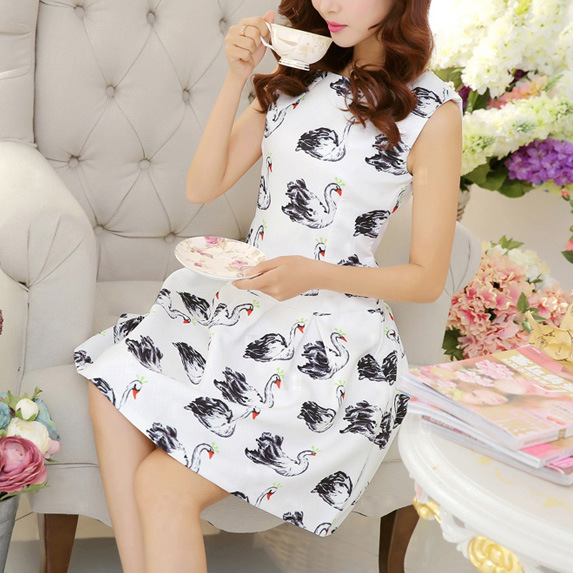 2015 new women Korean slim waisted A Swan color word sleeveless dress vestidos cortos summer clothes for women moda feminina(China (Mainland))