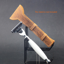 Buy ZY Men Manual Cartridge Razor Refills Shaver Long Handle Genuine Leather Shaving Razor Case Pouch for $12.98 in AliExpress store