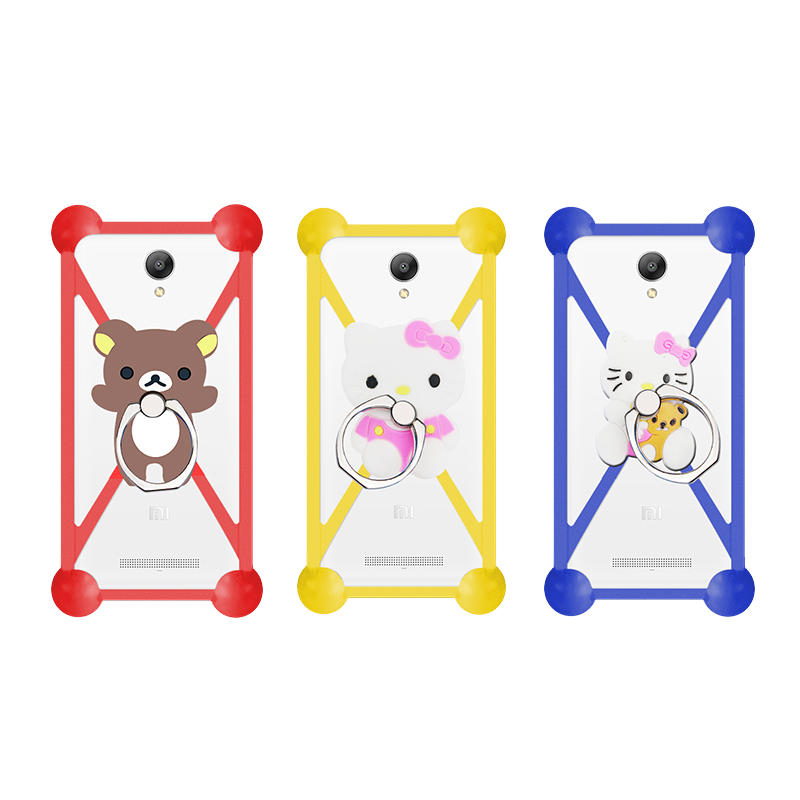 Cartoon Ring Stand Holder Soft Silicone Case For alcatel Flash Plus 2 Cell Phone Universal 3.5 - 5.5 Inch Bumper Frame Cover(China (Mainland))