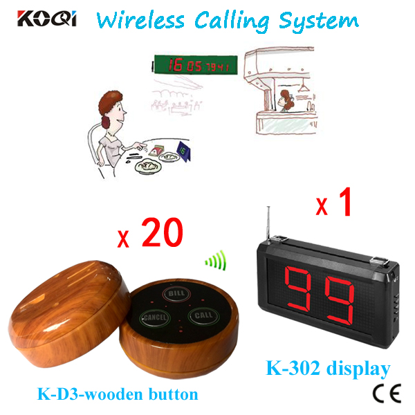 Waiter Call Wireless Paging Systems (a set including 1 K-302 display screen+20 D3 Table Button Newest )(China (Mainland))
