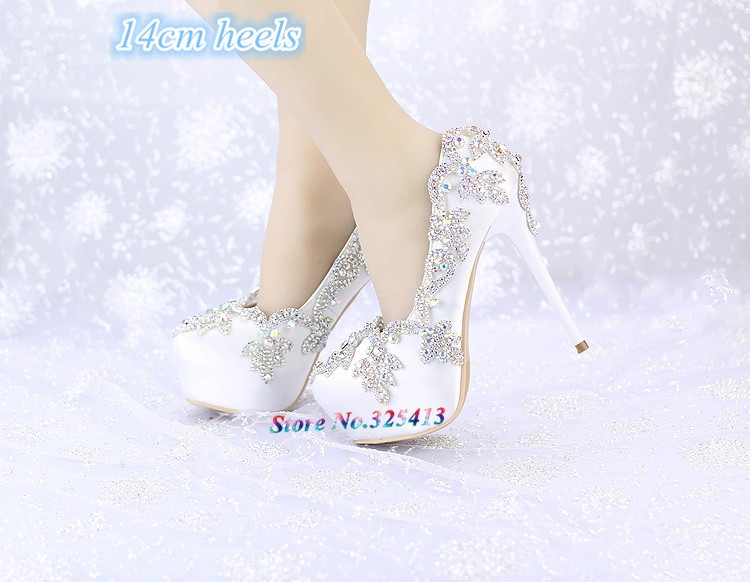 Luxury princess slipper AB rhinestone wedding shoes 8cm/10cm/12cm/14cm high heels platform shoes  women's wedding shoes