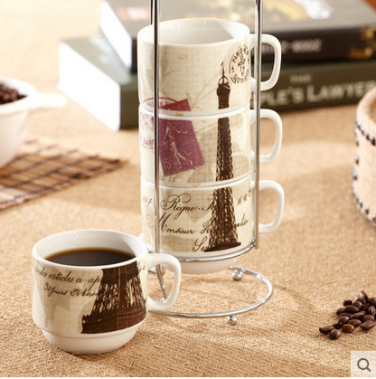 Simple style 4pcs ceramic espressos coffee cups set with storage rack multi type to choose novelty
