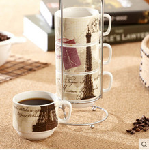 Simple style 4pcs ceramic espressos coffee cups set with storage rack multi-type to choose novelty milk or tea cups
