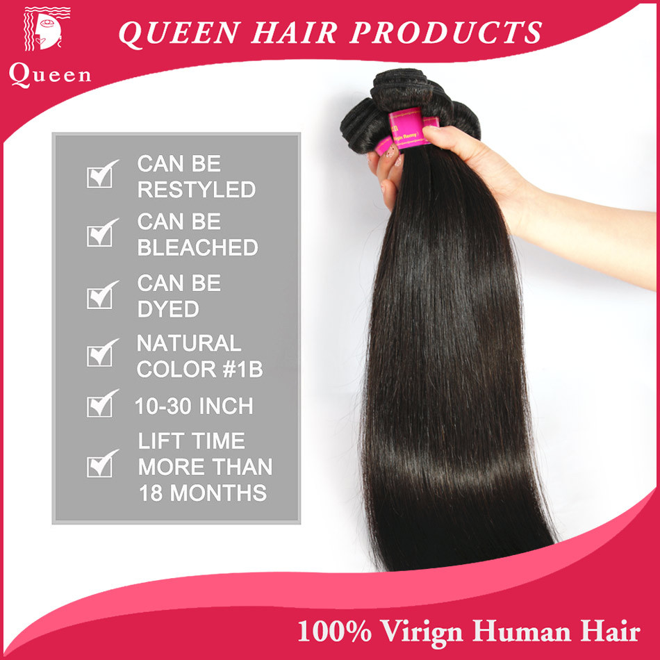 product Queen Weave Beauty Brazilian Virgin Hair 4 Bundles 5A Unprocessed Virgin Brazilian Straight Hair 8-30 Inches For Your Nice Hair