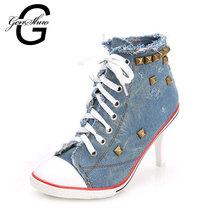 GENSHUO 2016 New Fashion Ladies Pumps Sapato Feminino Ankle Boots Women Femme Denim High Heels Designer Shoes Women Luxury(China (Mainland))