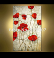 Hand Painted Landscape Modern Palette Knife thick oil painting Canvas Red Poppy Wall Decoration Living Room